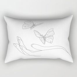 Butterflies on the Palm of the Hand Rectangular Pillow