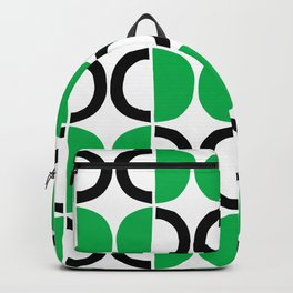 Mid Century Modern Half Circle Pattern 567 Green and Black Backpack