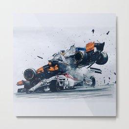 Formula One Crash Metal Print