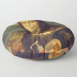 Mona Lisa mask Floor Pillow