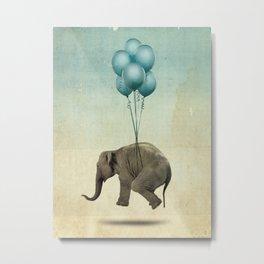 Levitating Elephant Metal Print