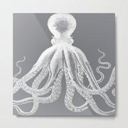 Octopus | Vintage Octopus | Tentacles | Grey and White | Metal Print