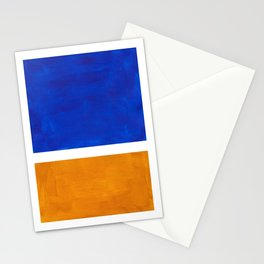 Phthalo Blue Yellow Ochre Mid Century Modern Abstract Minimalist Rothko Color Field Squares Stationery Cards
