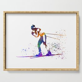 Skier in watercolor Serving Tray