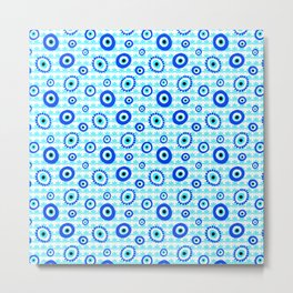 Evil Eye Charms Blue and White Pattern Metal Print