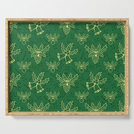 Green Christmas Pattern Serving Tray