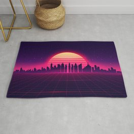 Retro Vaporwave City Skyline Rug