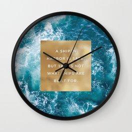 Ship in Harbor Wall Clock