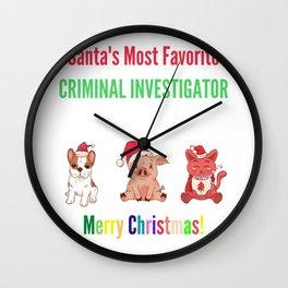 Santa's Most Favourite Criminal-investigator Wall Clock