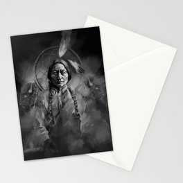 Black and white portrait-Sitting bull Stationery Cards