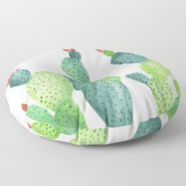 Prickly Pear Cactus in White Floor Pillow