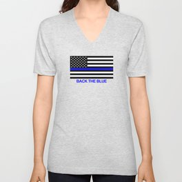 Thin Blue Line Back the Blue Flag Unisex V-Neck