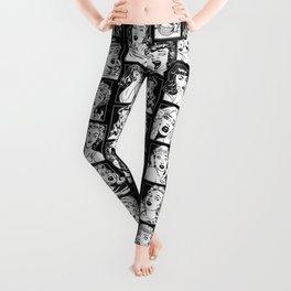Vintage Pulp Comic Pop Culture Pin Up Girl Art Pattern Dark Leggings