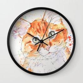 Orange Tabby Kitten Art Wall Clock