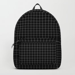 Small White Grid on Black Backpack