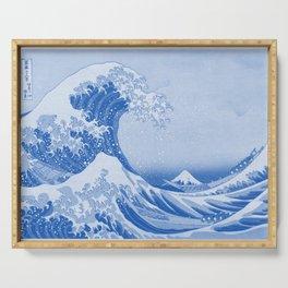 Cerulean Blue Porcelain Glaze Japanese Great Wave Serving Tray