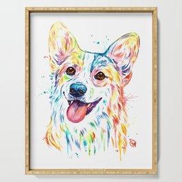 Corgi Colorful Watercolor Pet Portrait Painting Serving Tray