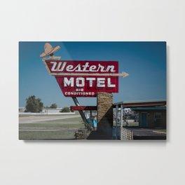 Western Motel on Route 66 Metal Print