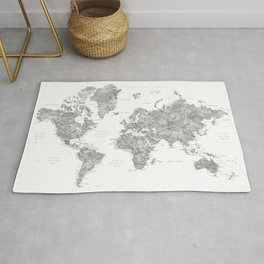 "Watercolor world map with LABELS IN SPANISH, ""Jimmy"" Rug"