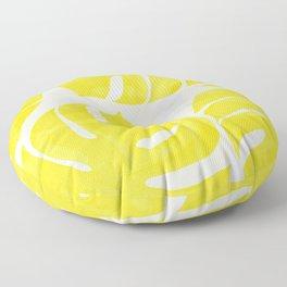 Mellow Yellow Monstera Leaves White Background #decor #society6 #buyart Floor Pillow