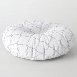Quatrefoil - white and silver Floor Pillow