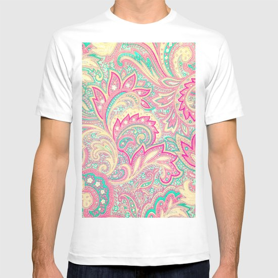 Pink Turquoise Girly Chic Floral Paisley Pattern Rug By: Pink Turquoise Girly Chic Floral Paisley Pattern T-shirt