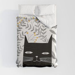 black cat with botanical illustration Duvet Cover