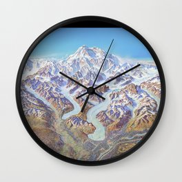 Heinrich Berann - Panoramic Painting of Denali National Park with labels (1994) Wall Clock