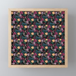 Pretty Pink & Yellow Small Floral Black Design Framed Mini Art Print
