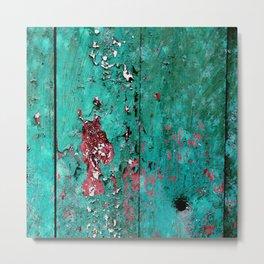 Old wooden door with layers of paint Metal Print