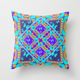 Western Style Purple Turquoise Butterflies Creamy Gold Patterns Throw Pillow