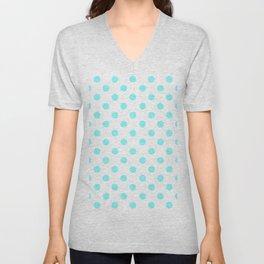 Polka Dots (Aqua & White Pattern) Unisex V-Neck