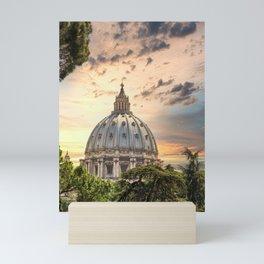 Ornate Dome of Saint Peters at Dusk Mini Art Print