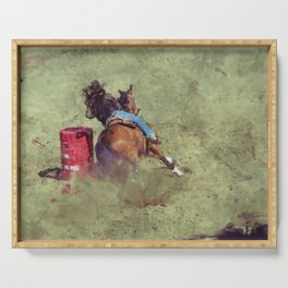 The Barrel Racer - Rodeo Horse and Rider Serving Tray