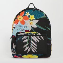 Frangipani, lily palm leaves tropical vibrant colored trendy summer pattern black background Backpack