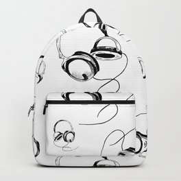 Headphones pattern. Sketch style, black and white print. Backpack