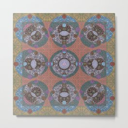 Rococo Traditional Sacred Geometry Celtic Inspired Geometric Quilt Metal Print