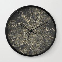 Jerusalem Map yellow Wall Clock