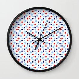 new polka dot 17 -dark blue, light blue and red Wall Clock