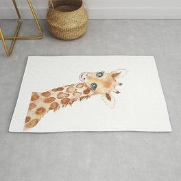cute baby giraffe watercolor  Rug