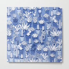 Succulents - Monochrome Blue Metal Print