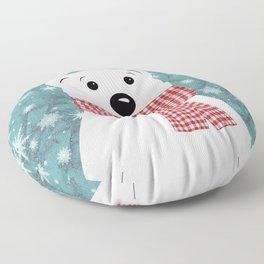 Christmas polar bear on blue. Floor Pillow