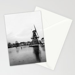 Iconic mill 'The Adrian' in black and white in Haarlem alongside a frozen Spaarne canal | Ice skating | Reflections | Architectural fine art print Stationery Cards