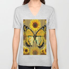NUT & PUTTY COLORED YELLOW SUNFLOWERS ART Unisex V-Neck
