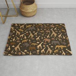 Safari Giraffe, elephants and cheetah pattern  Rug