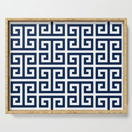 Dark Navy Blue and White Greek Key Pattern Serving Tray