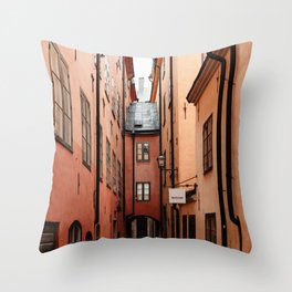 Stockholm, Sweden   Gamla Stan   old city centre   alley   old buildings   colored houses   bright colors   city print   travel photography   travel print   art print  Throw Pillow