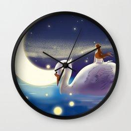 Beautiful Fly Swan And Girl Wall Clock