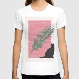 Istanbul Street Cat Pink Graphic Design T-shirt