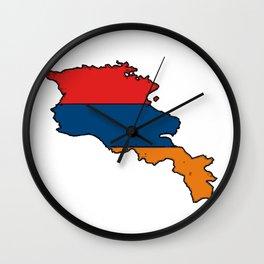 Armenia Map with Armenian Flag Wall Clock